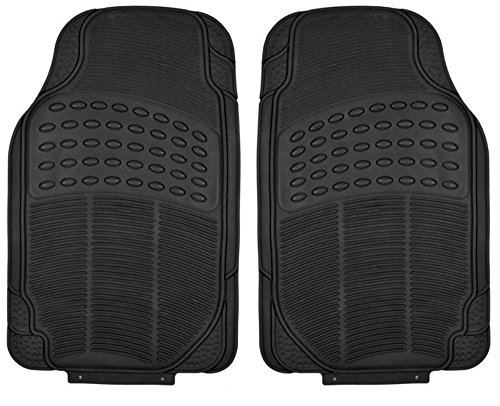 All Weather Tough Rubber Floor Mats in Black - 2pc Front Set ()