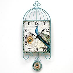 Bits and Pieces Peacock Pendulum Hanging Wall Clock - Elegant Animal and Bird Decoration for Any Room
