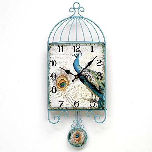 Bits and Pieces - Peacock Pendulum Hanging Wall Clock - Elegant Animal and Bird Decoration for Any Room