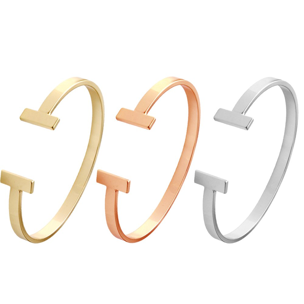 SENFAI Simple Gold and Silver Double T Copper Cuff Bracelet (Gold + Rose gold + Silver)