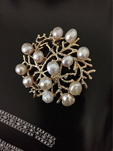 TKHNE Bird's Nest Baroque shaped natural freshwater pearl brooch pin badge pin brooch pin badge pin collar coat jacket women girls suits
