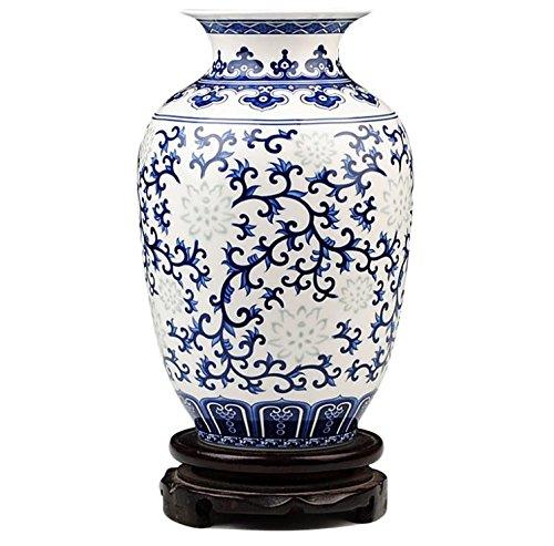 wutipron Rice-pattern Porcelain Thailand Vase Antique Blue-and-white Bone China Decorated Ceramic Vase Bone China Bud Vase