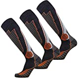 Pure Athlete High Performance Wool Ski Socks – Outdoor Wool Skiing Socks, Snowboard Socks (Black/Grey/Orange - 3 Pack, Medium)