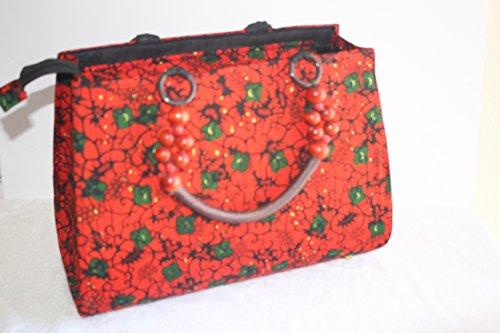 Nova AfriquX Women African Pattern Zip Closure Tote Bags Shoulder Bag Top-Handle Handbags PU Leather (Large Handbag Styled)