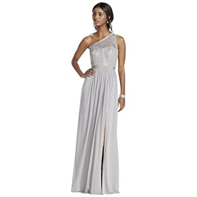 e88883ad68c David s Bridal One Shoulder Long Lace Bridesmaid Dress Style F17063 ...