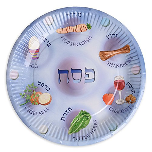Paper Plates for Passover, 25 Paper Seder Plates, Disposable Pesach Plates for Kids. -