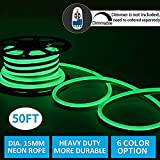 Led Neon Lights,Shine Decor dimmable Green Rope Lights, Update Waterproof 2835 120Leds/M, 50ft, 110V, Included All Necessary Accessories, Flex Durable Super Bright For Outdoor Decor Or Commercial Use