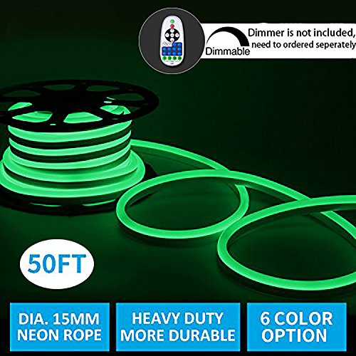 Led Neon Lights,Shine Decor dimmable Green Rope Lights, Update Waterproof 2835 120Leds/M, 50ft, 110V, Included All Necessary Accessories, Flex Durable Super Bright For Outdoor Decor Or Commercial Use by shine decor