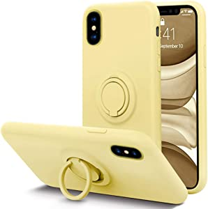 KUMEEK for iPhone Xs/X Case Fingerprint | Kickstand | Anti-Scratch | Microfiber Liner Shock Absorption Gel Rubber Full Body Protection Liquid Silicone Case for iPhone Xs/X-Yellow