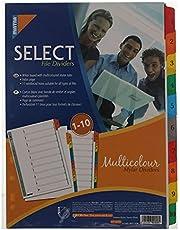 فواصل تخصيص المحتويات من مينترا - تحتوي علي 10 علامة رقمية مع صفحة فهرس / بها ثقوب مناسبة لجميع أنواع الملفات - متعددة الألوان - تساعد في التخطيط والتنظيم - متعدد الالوان