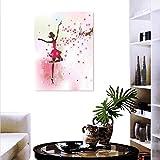 "Anyangeight Kids Room Canvas Wall Art Ballet Butterfly Fairy Ballerina Princess Dancer Flowers Tree Branch Floral Girls Party Print Customizable Wall Stickers 24""x36"""