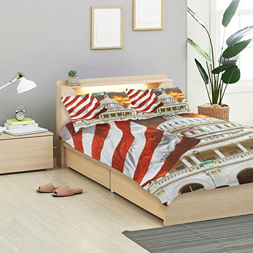 (MIGAGA Duvet Cover Set, Washington Dc United States Landmark National, Decorative 3 Piece Bedding Sets with 2 Pillow Shams Full Size)