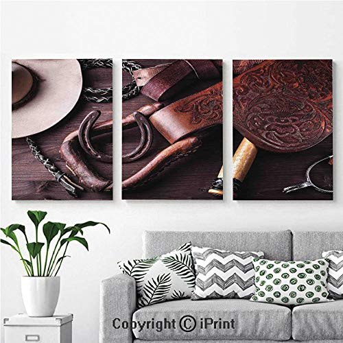 Wall Art Decor 3 Pcs High Definition Printing Clothes and Accessories for Horse Riding with Kitsch Details Rural Sports Themed Painting Home Decoration Living Room Bedroom Background,16