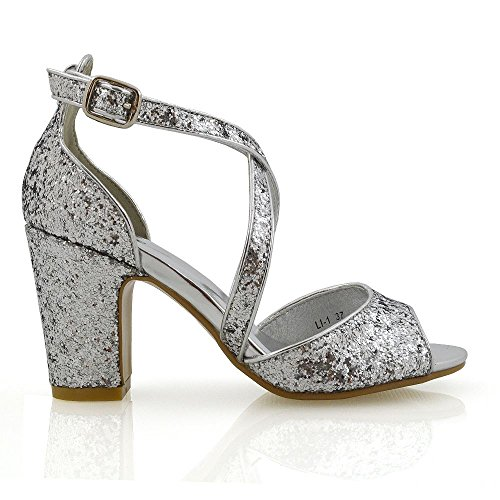 ESSEX GLAM Block Heel Shoes Glitter Strappy Party Sandals Silver Glitter