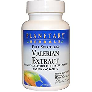 Planetary Herbals - Valerian Extract, Full Spectrum, 650 mg, 60 Tablets