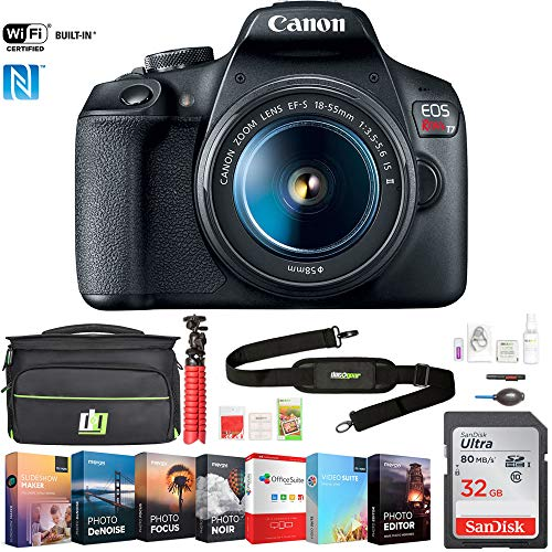 Canon EOS Rebel T7 Digital SLR Camera 18-55mm f/3.5-5.6 is II Kit (2727C002) w/ 32GB Deluxe Accessory Bundle Includes, Deco Gear Camera Bag and Photo and Video Professional Editing Suite