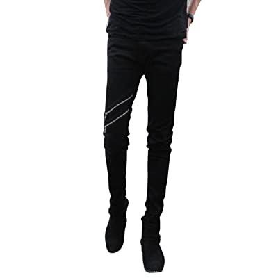 DSDZ Casual Mens Punk Skinny Black Denim Jeans with Zippers at Men's Clothing store