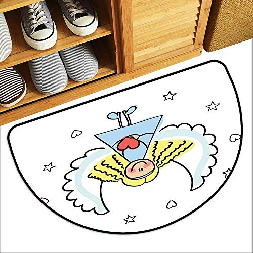 DILITECK Outdoor Doormat Xmas Cute Little Girl with Wings Red Heart Stars Angel Blessing Heaven Holiday Antifouling W36 xL24 Black White Pale Blue ()