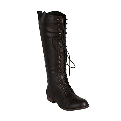 Amazon.com | REFRESH LIBBY-05 Women's Lace up knee high Combat ...