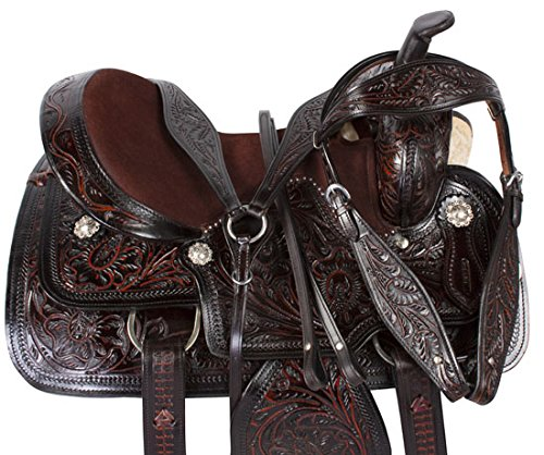 black-inlay-hand-carved-western-leather-barrel-racing-pleasure-trail-horse-saddle-tack-17