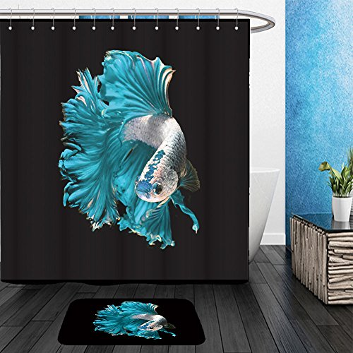 Vanfan Bathroom 2Suits 1 Shower Curtains & 1 Floor Mats turquoise dragon siamese fighting fish betta fish isolated on black background 523823200 From Bath room