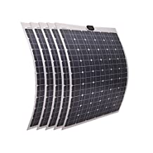 ECO-WORTHY 500W 5pcs 100W Mono Semi-flexible Solar Panel Kit for Outdoor Camping Yacht Boat Motor Use