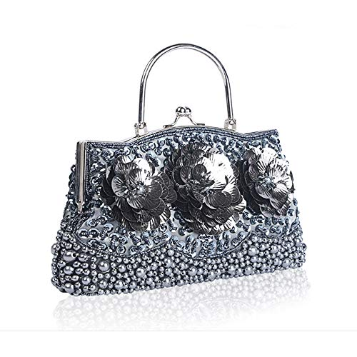 Fadirew Vintage Evening Bag Party Cluth Bags Bridal Exquisite Glitter Women Handmade for Bag Wedding Beaded Ball Gray amp; Handbag Sequin Beads Ladies rqSwBrF