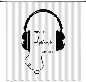BCNEW Music Shower Curtain Decor Black Headset Words