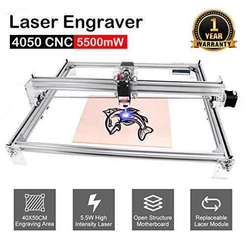 DIY CNC Laser Engraver Kits, Yofuly 5500mW Wood Carving Engraving Cutting Machine Desktop Printer Logo Picture Marking, 40x50cm, 2 Axis (5500mW)