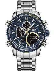 NAVIFORCE Mens Wrist Watch, Analog Digital Watch Chronograph Waterproof Sport Quartz Watches Business Fashion Stainless Steel Military Multifunctional Wristwatch