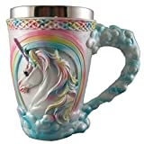 Rainbow Unicorn Coffee Mug, Cute Mythical Tankard, Magical Drinking Glass, Stainless Steel Fantasy Cup, Medieval Celtic Knot Design