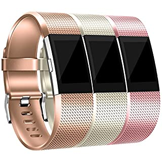 Maledan Bands Replacement Compatible with Fitbit Charge 2, 3 Pack, Rose Gold/Royal Gold/Champagne, Small