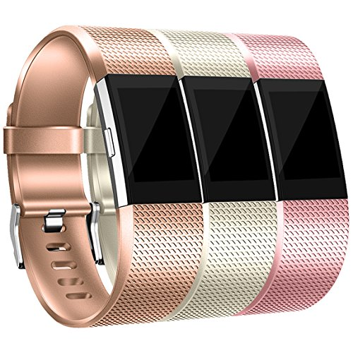 Maledan Bands Replacement Compatible with Fitbit Charge 2, 3-Pack, Rose Gold/Royal Gold/Champagne, Large