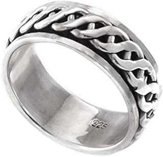 Silverly Mens Womens .925 Sterling Silver Celtic Rope Spinner Thumb Ring