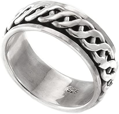 Stainless Steel 2 Color Greek Key Comfort Fit Spinning Flat Band Ring