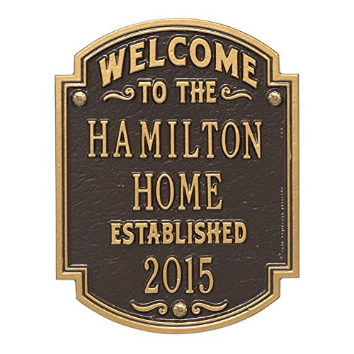 Plaque House Personalized (Whitehall Personalized Welcome to Our House Custom Indoor/Outdoor Aluminum Wall Plaque - Bronze/Gold)