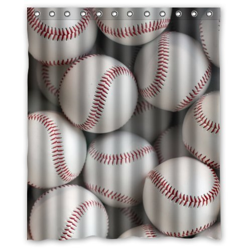 Custom It baseball balls sports Design Waterproof Bathroom Fabric Shower Curtain