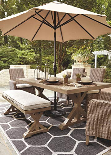 Signature Design by Ashley Beachcroft Outdoor Farmhouse Beige Dining Table with Porcelain Top and Umbrella Hole