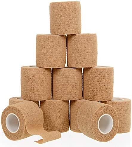 Self Adherent Cohesive Wrap Bandages (12-Pack) Bundle - 2inch-Wide 5yds Self Adhesive Non Woven Bandage Rolls -Brown Athletic Tape for Wrist - Breathable Athletic Tape - Stretch Wrap Roll