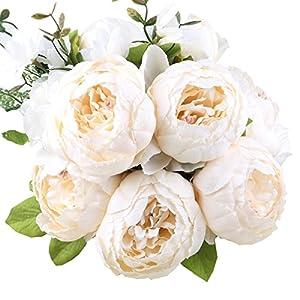 StarLifey Vintage Artificial Flower Peony Bride Holding White Silk Flowers Bouquet Home Kitchen Wreath Decoration