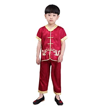 d1fe5ff90 Hooyi Baby Boys Short Sleeve Clothes Set Embroidery Tang Suit China Style  Dragon Cheongsam Tops Pant