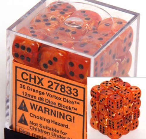 Chessex Dice d6 Sets: Vortex Orange with Black - 12mm Six Sided Die (36) Block of Dice