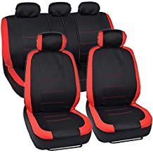 BDK Venice Series Car Seat Covers for Auto - Red Stripes on Flat Black Cloth - Split Bench Function, Original Cover Protection