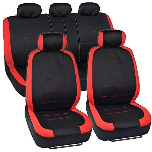 BDK Venice Series Car Seat Covers for Auto - Red Stripes on Flat Black Cloth - Split Bench Function, Original Cover Protection (Cheap Seat Covers For Cars)