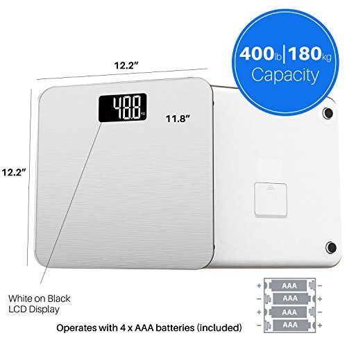 Smart Weigh Weight Bathroom Display,Precision Measurements,Step-On Technology, Pounds,Silver