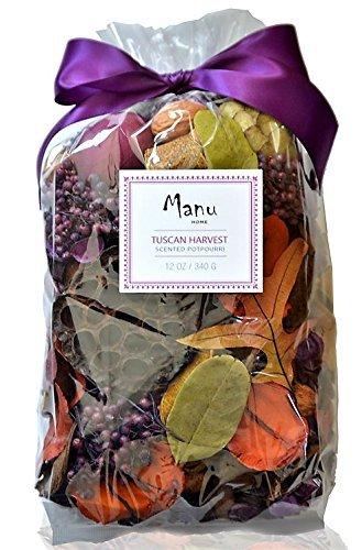 Manu HomeTuscan Harvest Potpourri Bag ~ 12oz Bag with Beautiful Botanicals & Pods ~ Perfect Home Decor~ Made in USA