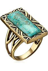 "Barse ""Parallel"" Bronze and Genuine Turquoise Ring"