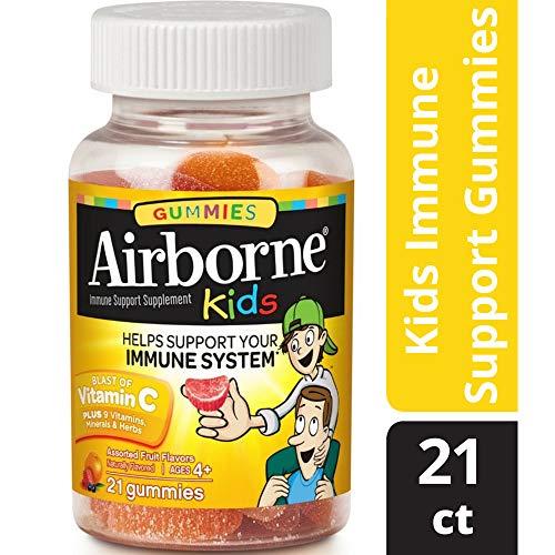 Airborne Kids Gummies, 21 count -Vitamin C 667mg - Immune Support Minerals & Herbs, Antioxidants (Vitamin A, C & E), Gluten-Free, Assorted Fruit Flavor
