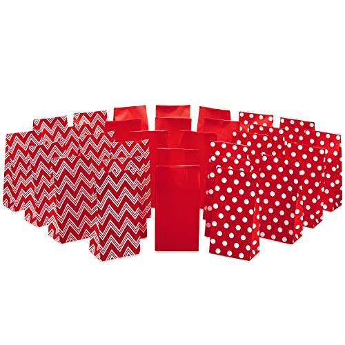 Hallmark Red Assorted Favor Bags (30 Ct., 10 each of Chevron, White Dots, Solid Red) - 5EGB6427