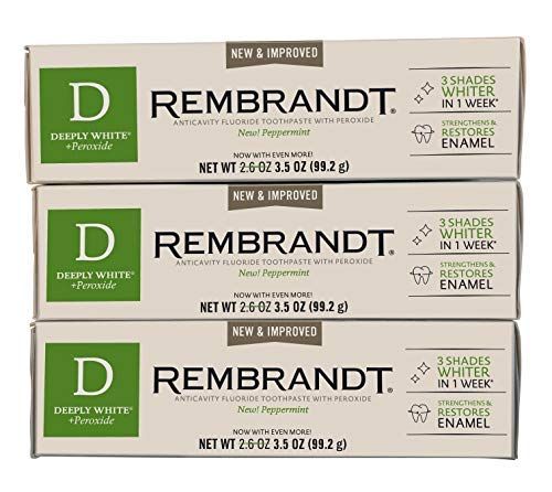 Rembrandt AntiCavity Fluoride Toothpaste with Peroxide Peppermint Flavored 3.5oz (3 Pack)